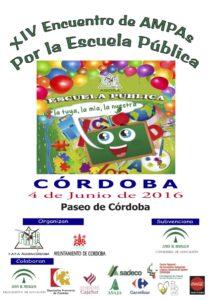 Cartel XIV Encuentro de AMPAs. Por la Escuela Pública. 4-06-16