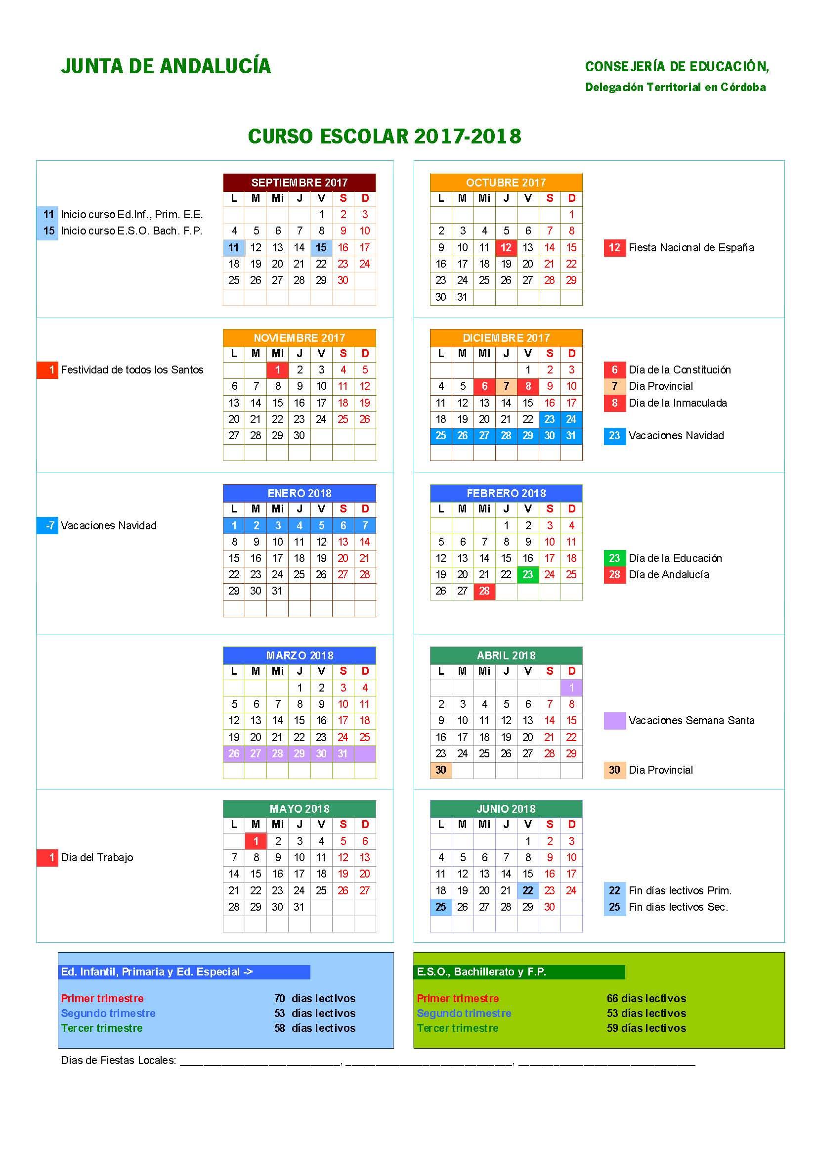 Calendario Escolar Huelva.Calendario Escolar 2017 2018 Fapa Agora Cordoba